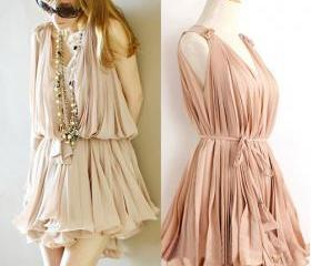 Pleated Chiffon V collar pink vest skirt