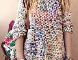 Color knitting sweater coat HH