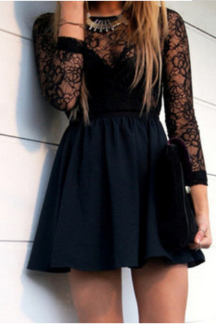 Free Shipping!! Black Lace Hollow Backless Dress